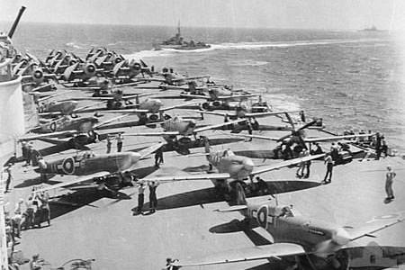 Aircraft on the deck of HMS Implacable R86